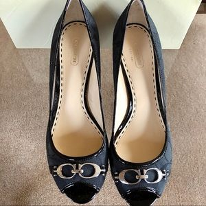 Brand New Black Coach Open Toe Wedges